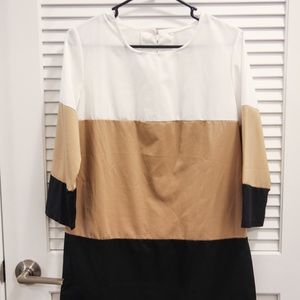 Dresses & Skirts - 70s Colorblock dress in black, brown, and white